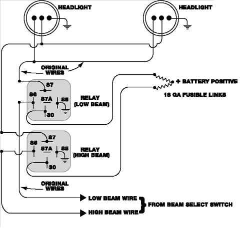 headlight relay wiring diagram 2005 saturn relay headlight wiring how to wire headlights to a toggle switch at Headlight Circuit Diagram